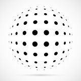 White 3D vector halftone sphere.Dotted spherical background.Logo. Template with shadow.Circle dots isolated on the white background Royalty Free Stock Image