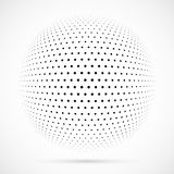 White 3D vector halftone sphere.Dotted spherical background.Logo. Template with shadow.Circle dots isolated on the white background Stock Images