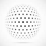 White 3D vector halftone sphere.Dotted spherical background.Logo. Template with shadow.Circle dots isolated on the white background Stock Photography