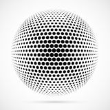 White 3D vector halftone sphere.Dotted spherical background.Logo. Template with shadow.Circle dots isolated on the white background Royalty Free Stock Photo