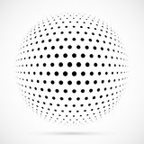 White 3D vector halftone sphere.Dotted spherical background.Logo Royalty Free Stock Photography