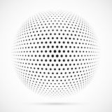White 3D vector halftone sphere.Dotted spherical background.Logo Royalty Free Stock Image