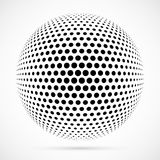 White 3D vector halftone sphere.Dotted spherical background.Logo Royalty Free Stock Photo