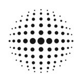 White 3D vector halftone sphere.Dotted spherical background.Logo template with shadow.Circle dots isolated on the white background.  royalty free illustration