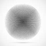 White 3D vector halftone sphere.Dotted spherical background.Logo Stock Photography