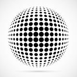 White 3D vector halftone sphere.Dotted spherical background.Logo Stock Photo