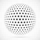 White 3D vector halftone sphere.Dotted spherical background.Logo. Template with shadow.Stars isolated on the white background Royalty Free Stock Images