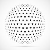 White 3D vector halftone sphere.Dotted spherical background.Logo. Template with shadow.Stars isolated on the white background Stock Photo