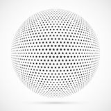 White 3D vector halftone sphere.Dotted spherical background.Logo. Template with shadow.Stars isolated on the white background Stock Photography