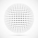 White 3D vector halftone sphere.Dotted spherical background.Logo. Template with shadow.Stars isolated on the white background Royalty Free Stock Image