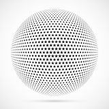 White 3D vector halftone sphere.Dotted spherical background.Logo. Template with shadow.Stars isolated on the white background Stock Image