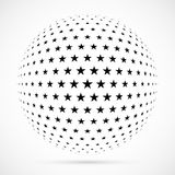 White 3D vector halftone sphere.Dotted spherical background.Logo. Template with shadow.Stars isolated on the white background Stock Photos