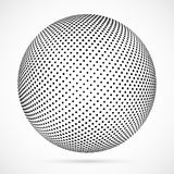 White 3D vector halftone sphere.Dotted spherical background.Logo. Template with shadow.Circle dots isolated on the white background Royalty Free Stock Photography
