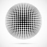 White 3D vector halftone sphere.Dotted spherical background.Logo. Template with shadow.Circle dots isolated on the white background Stock Photos