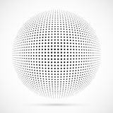 White 3D vector halftone sphere.Dotted spherical background.Logo. Template with shadow.Circle dots isolated on the white background Royalty Free Stock Images