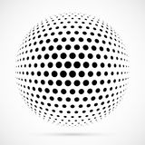 White 3D vector halftone sphere.Dotted spherical background.Logo Stock Photos