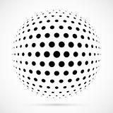 White 3D vector halftone sphere.Dotted spherical background.Logo Royalty Free Stock Images