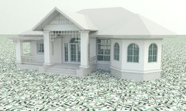 White 3D vintage house on the pile of money in iso Royalty Free Stock Image