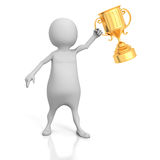 White 3d Winner Man With Golden Trophy Cup Royalty Free Stock Images