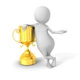White 3d Winner Man Wirh Golden Trophy Stock Photo