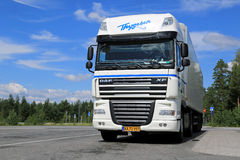 White DAF XF 105 Semi Truck Parked in Summer Royalty Free Stock Image