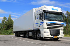 White DAF XF 105 Semi Truck Parked in Summer stock images