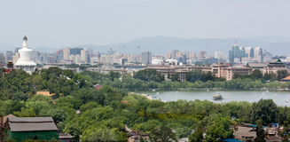 White Dagoba and Bei Hai (. Looking west from Jingshan Park at Beihai Park and the Beijing skyline Stock Photography