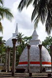 White dagobas in Mihintale. White dagoba in Mihintale, Sri Lanka Stock Photo