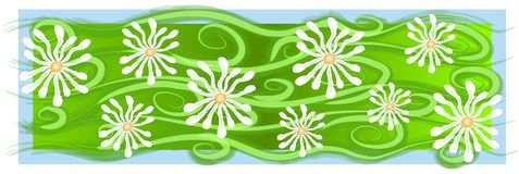 White Daisies Banner Pattern. A long texture background image of daisies  on a green and blue background Stock Image