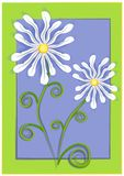 White Daisies on Blue Green. A white daisies flower illustration on blue and green background Stock Image