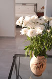 White Daisies in Greek Vase. Sitting on glass table Royalty Free Stock Photos