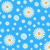 Floral Pattern of White Daisies in Blue Background stock illustration
