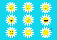 White daisy chamomile icon emoji set set. Funny kawaii cartoon characters. Emotion collection. Happy, surprised, smiling, crying, Royalty Free Stock Image