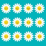 White daisy chamomile icon emoji set set. Funny kawaii cartoon characters. Emotion collection. stock illustration
