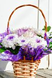 White  daisy flowers in a basket Royalty Free Stock Image