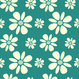 White daisy flowers on blue background seamless pattern background illustration Stock Photography