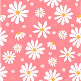 White daisy flowers on pink pastel pattern seamless background. Doodle hand drawing royalty free illustration