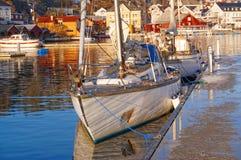 White damaged sail boat Stock Photography