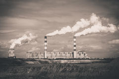 White danger smoke from coal power plant Stock Photography