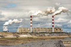 White danger smoke from coal power plant Stock Photos
