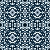 White and dark blue seamless floral wallpaper Royalty Free Stock Photography