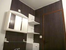 White and dark brown designed bathroom. A white and dark brown designed bathroom royalty free stock photos