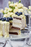 White and dark chocolate layer cake decorated with blueberries Royalty Free Stock Photo