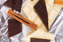 White and dark chocolate Royalty Free Stock Images