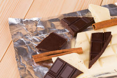 White and dark chocolate Royalty Free Stock Photography