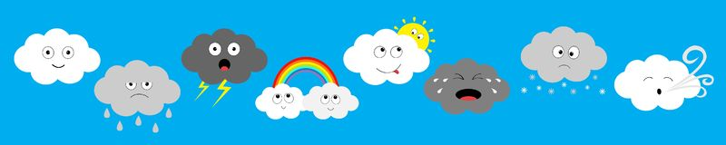 White dark cloud emoji emotion icon set line. Fluffy clouds. Sun, rainbow, rain drop, wind, thunderbolt storm lightning. Cute stock illustration