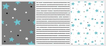 Cute Hand Drawn Stars and Stripes Irregular Vector Patterns. Blue, Black, White and Light Gray Stars. White and Dark Gray Background. Simple Infantile Design royalty free illustration