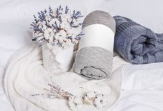 White, dark gray and gray plaids on the bed stock photo