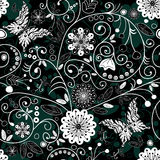 White and dark seamless floral pattern Stock Photo