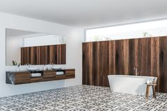 White and dark wooden bathroom corner royalty free stock images